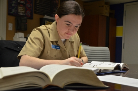NROTC student studying